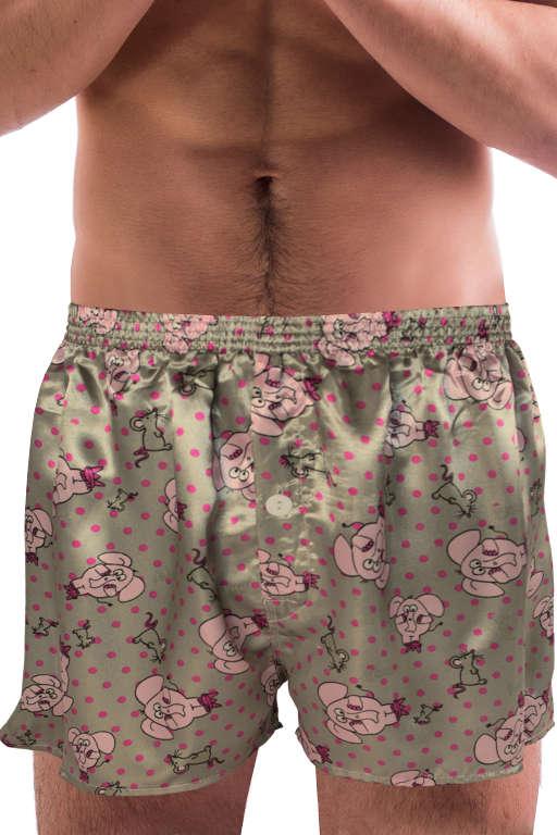 Pink elephant - saténové trenýrky L šedá
