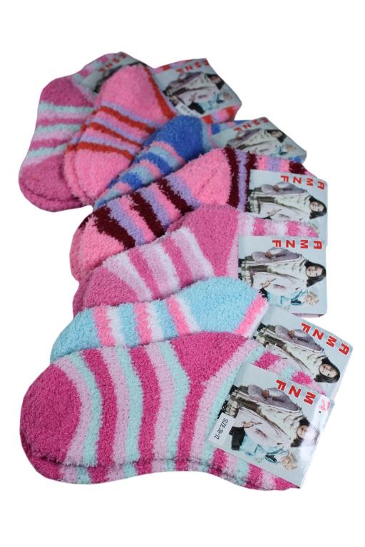 AMZF dětské žinilkové ponožky 7-8 let zářivě růžová