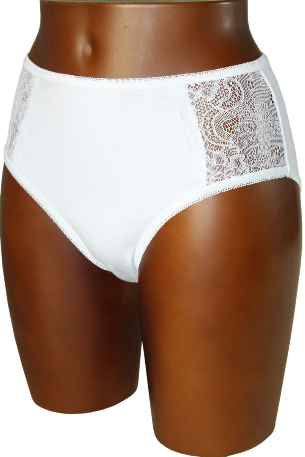 Image of Amber bavlněné kalhotky s krajkou L bílá