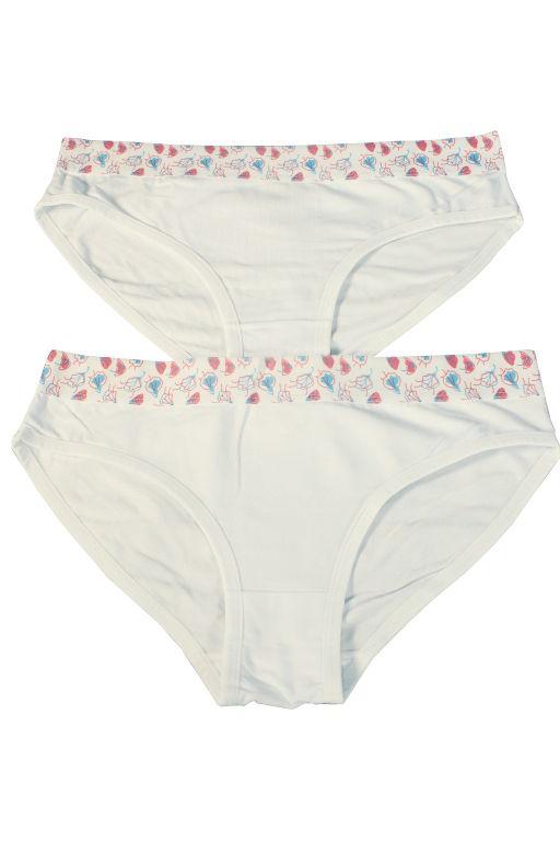 Ritta kalhotky s ozdobnou širokou gumou 2ks S bílá