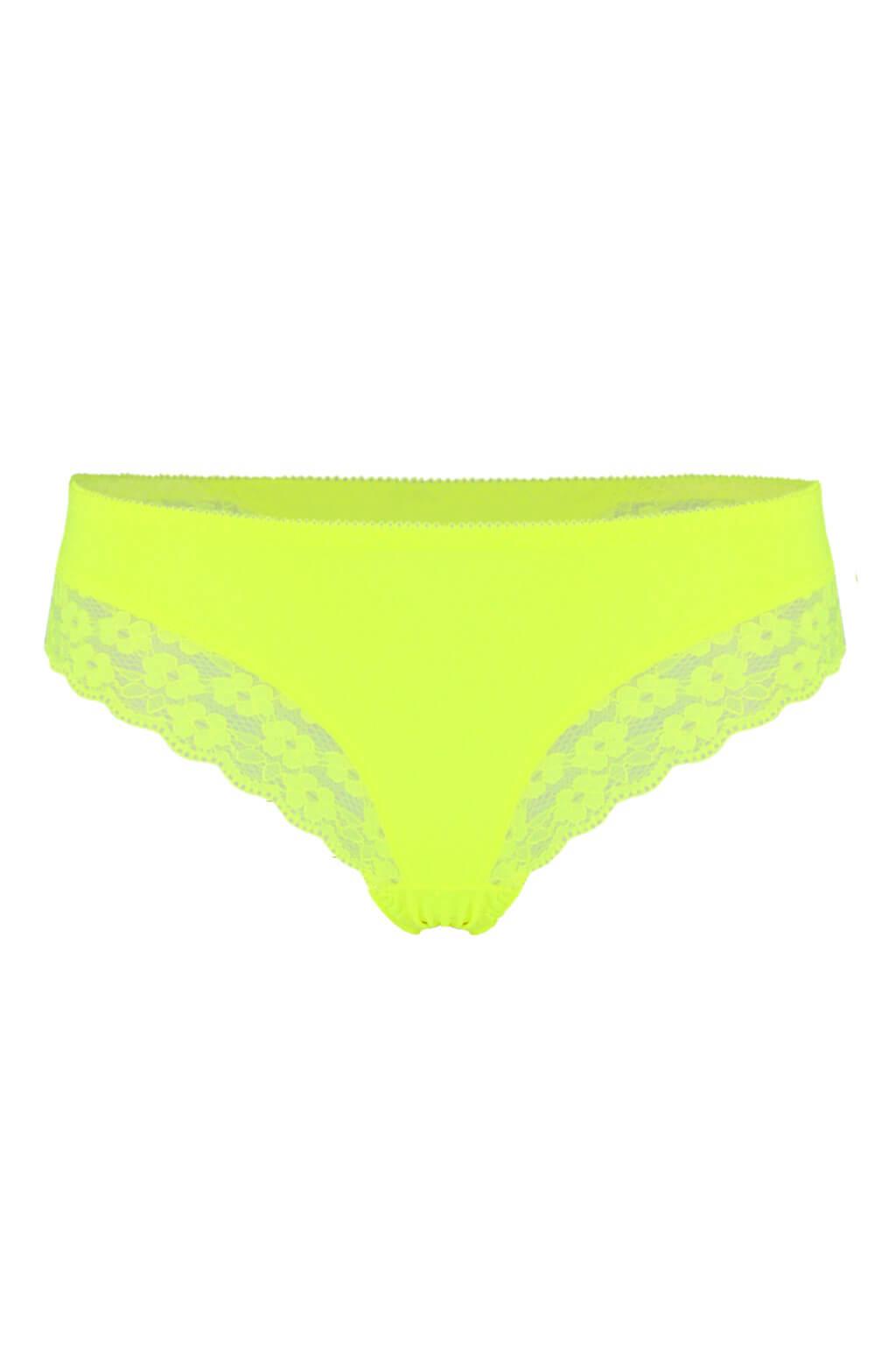 Rio Brazils krajkové kalhotky - brazilky L zářivě žlutá