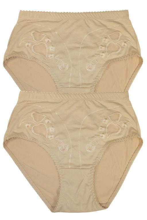 Damara Plus vysoké kalhotky - 2ks XXL béžová