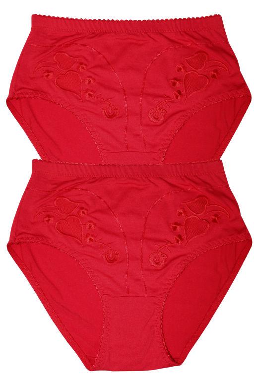 Damara Plus vysoké kalhotky - 2ks XXL červená