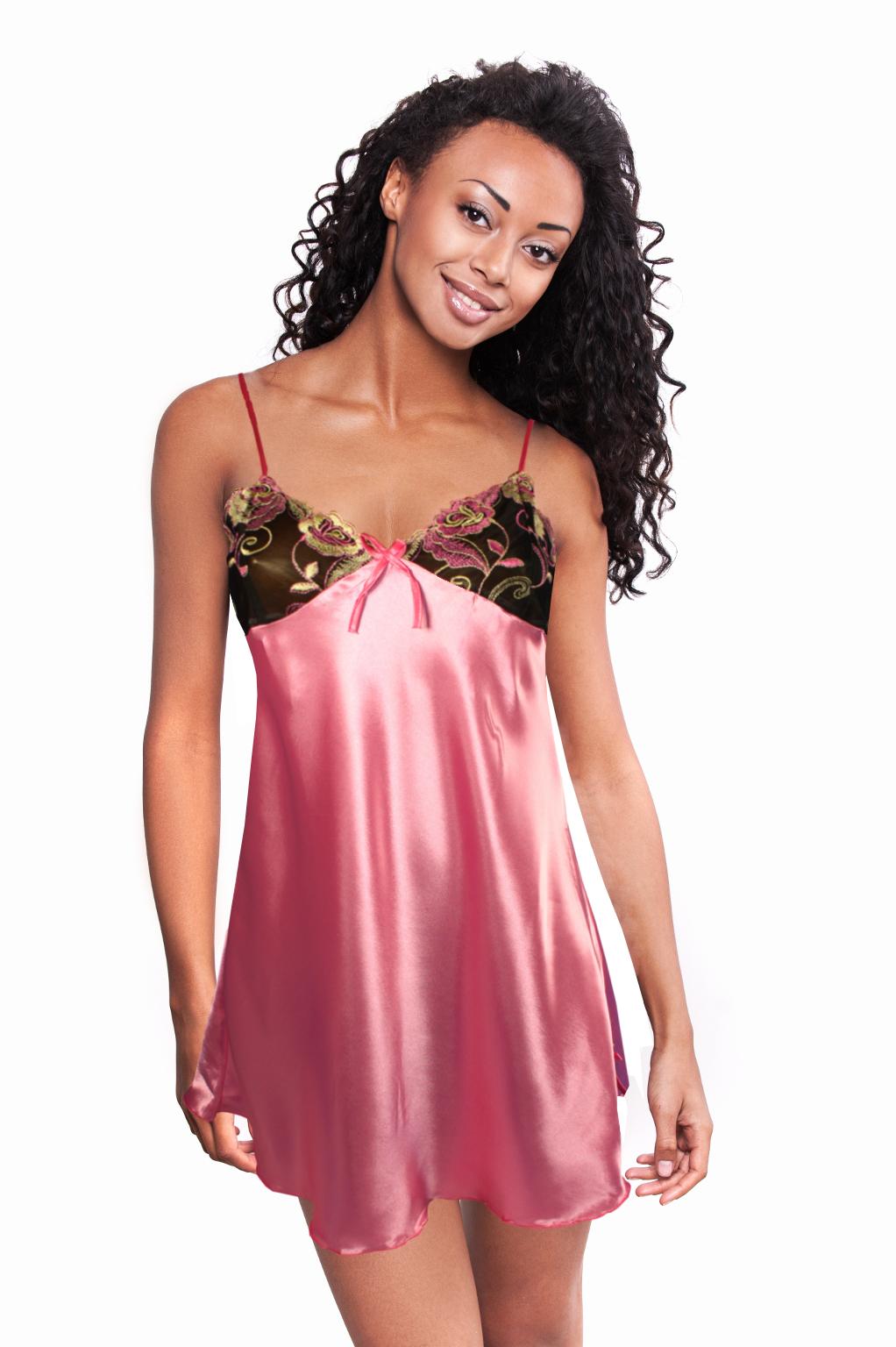 Edinna II saténová košilka M světle růžová