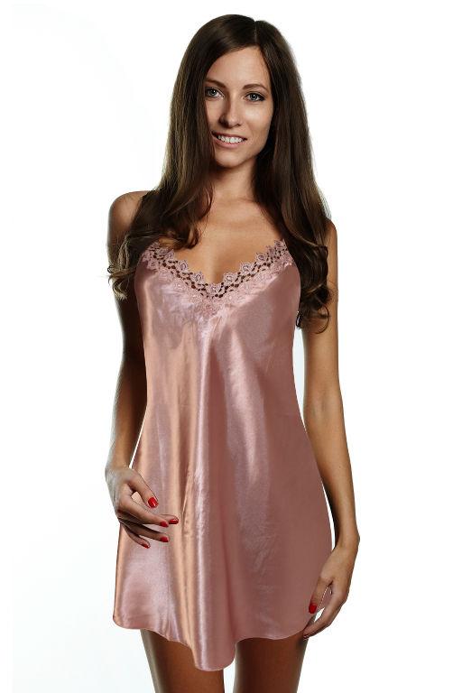 Pepita saténová košilka XL světle růžová
