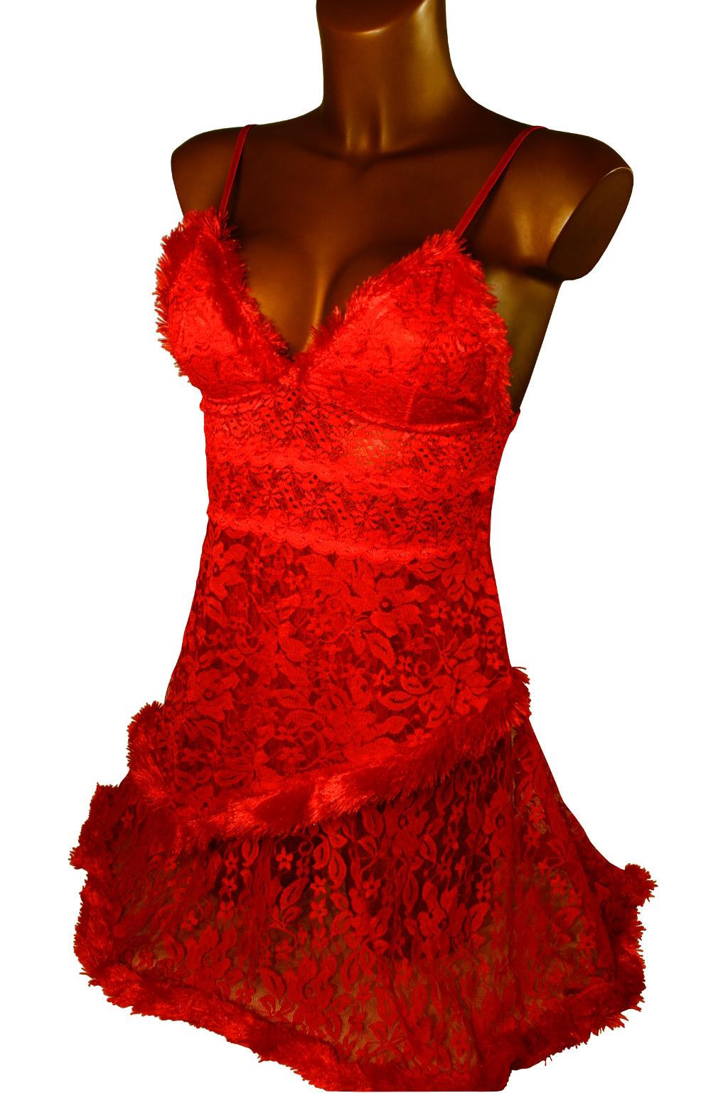 Nadine noční košilka s tangy M červená