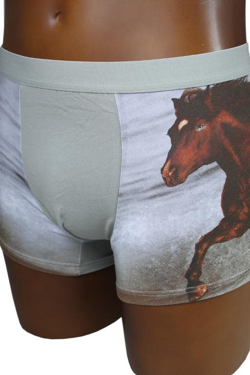 Horse boxerky s motivem kůň M béžová