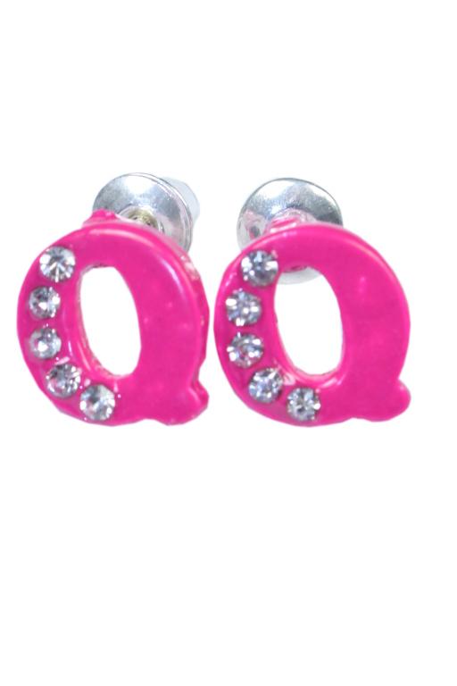 Q - náušnice s kamínky růžová
