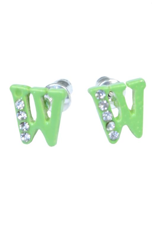 W - náušnice s kamínky zelená