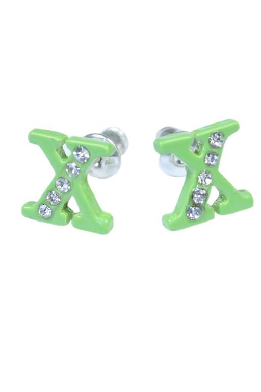 X - náušnice s kamínky zelená