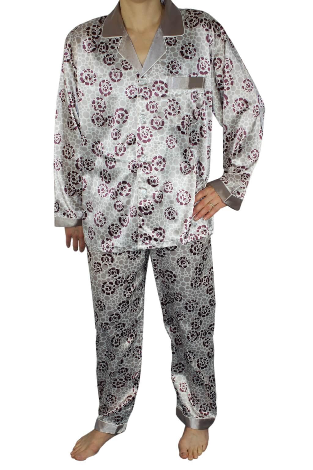 Fernando pánské saténové pyžamo šedá L