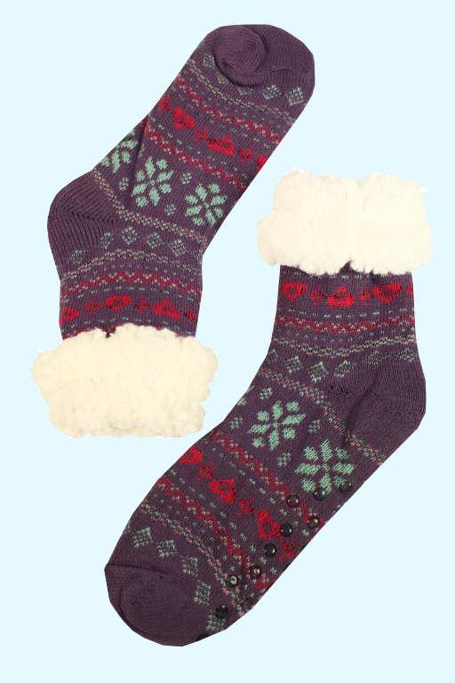 Zdravotní maxi hřejivé domácí ponožky 35-38 fialová