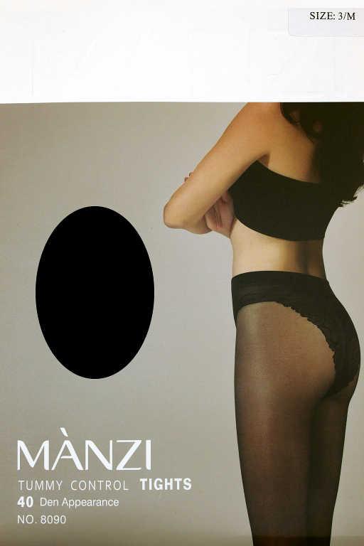 Manzi Tummy 40 denů - lesklé punčochy M černá