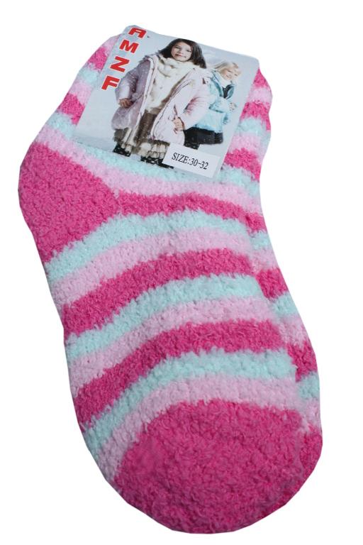 AMZF dětské žinilkové ponožky 7-8 let světle růžová