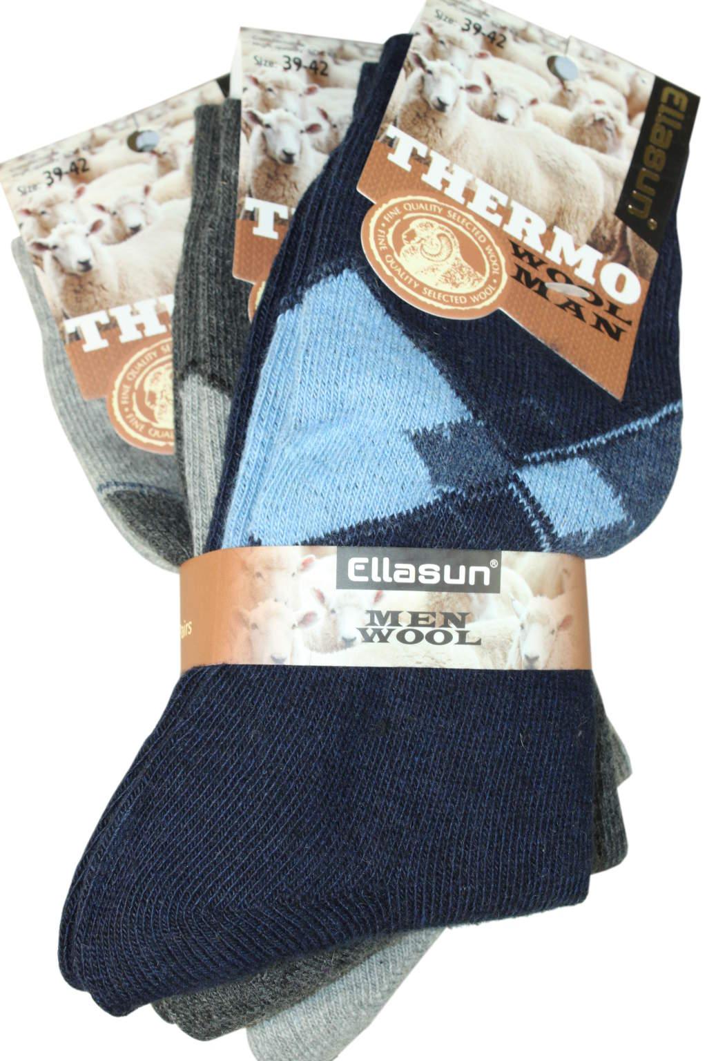 Wool Man thermo ponožky- 3bal 39-42 MIX
