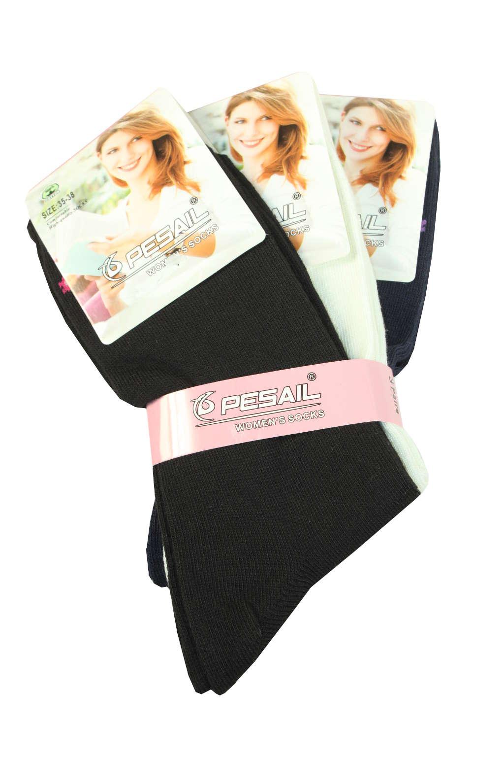 Dámské jednobarevné ponožky - 3pack 35-38 MIX