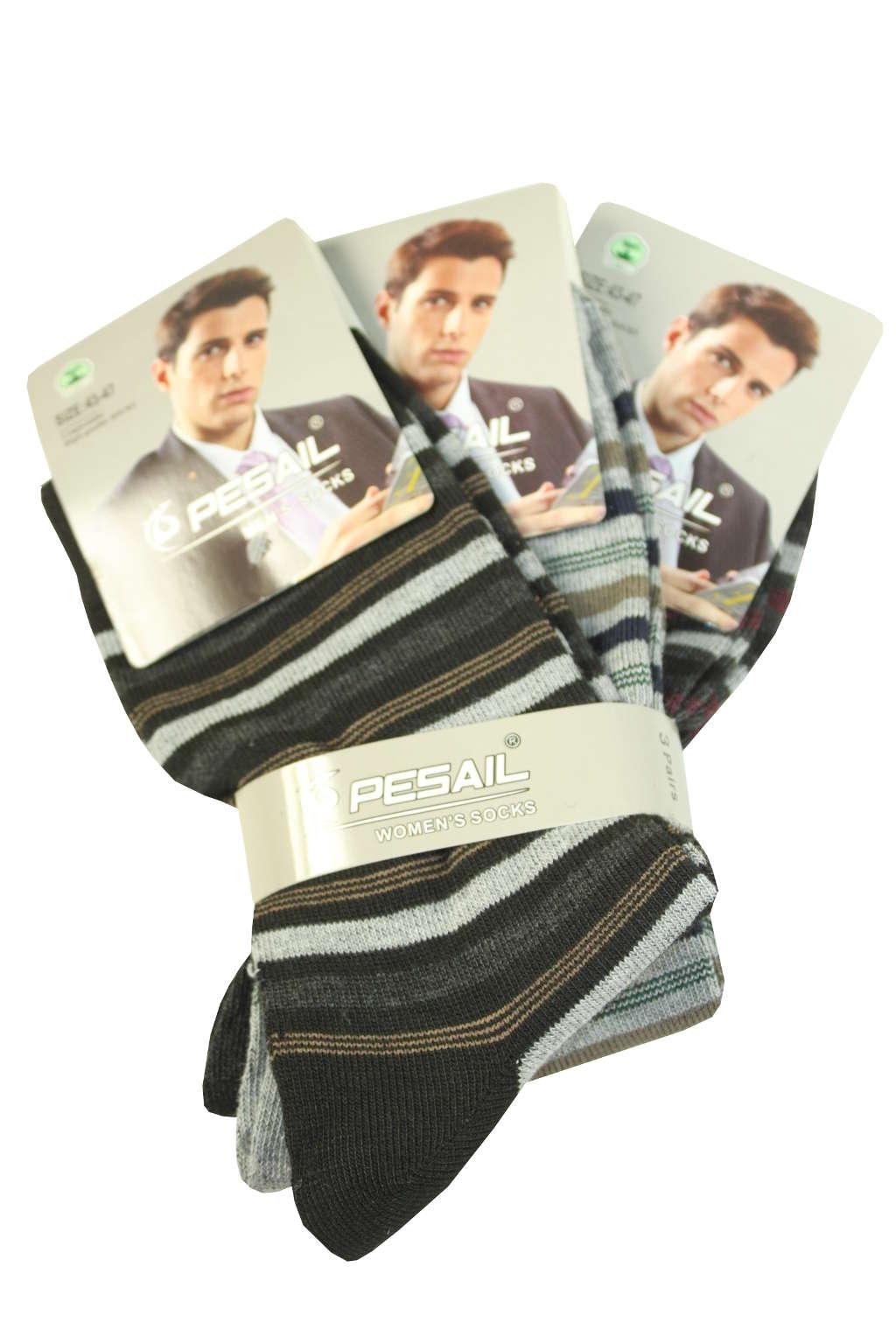 Proužkaté pánské ponožky - 3pack 43-47 MIX