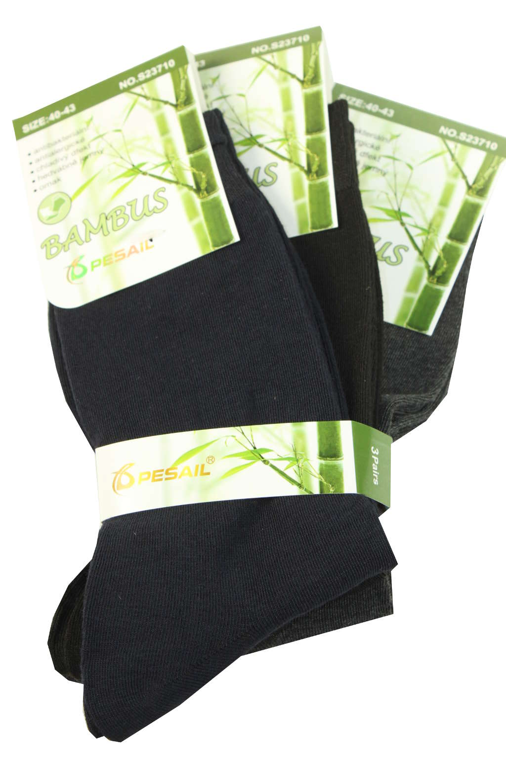 Jednobarevné pánské ponožky - trojbal 43-46 MIX
