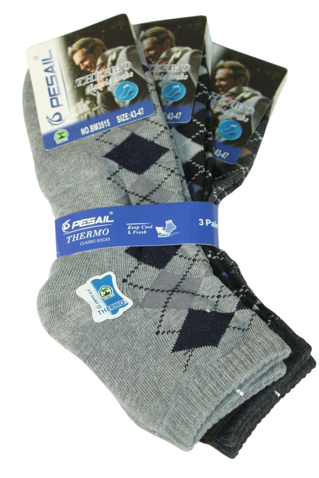 Nízké thermo ponožky - 3pack 43-47 MIX