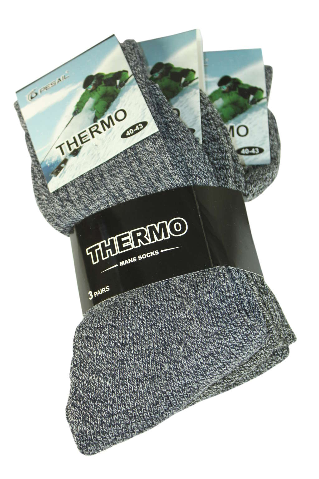 Pánské thermo ponožky - 3pack 40-43 šedá
