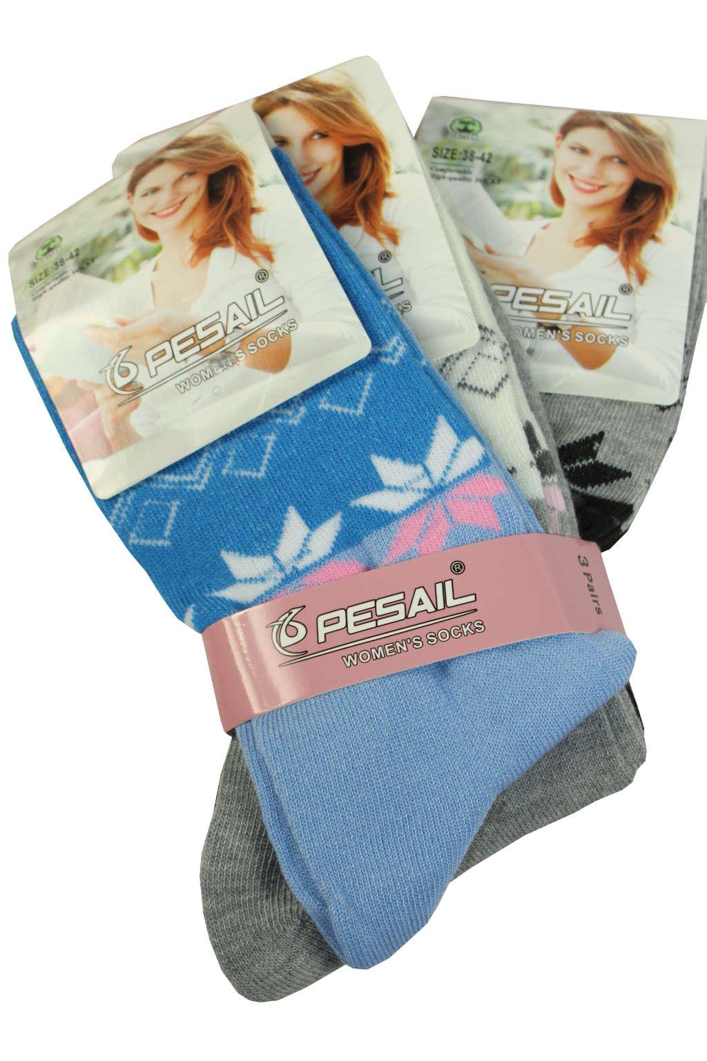 Dámské bavlněné ponožky - 3bal 35-38 MIX