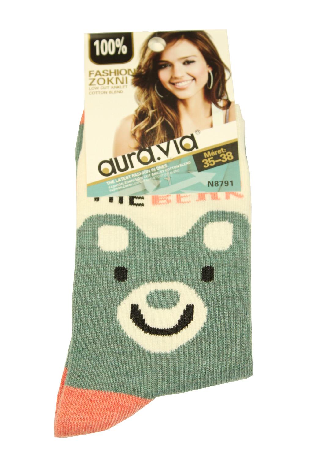 Dámské bavlněné ponožky 35-38 šedomodrá