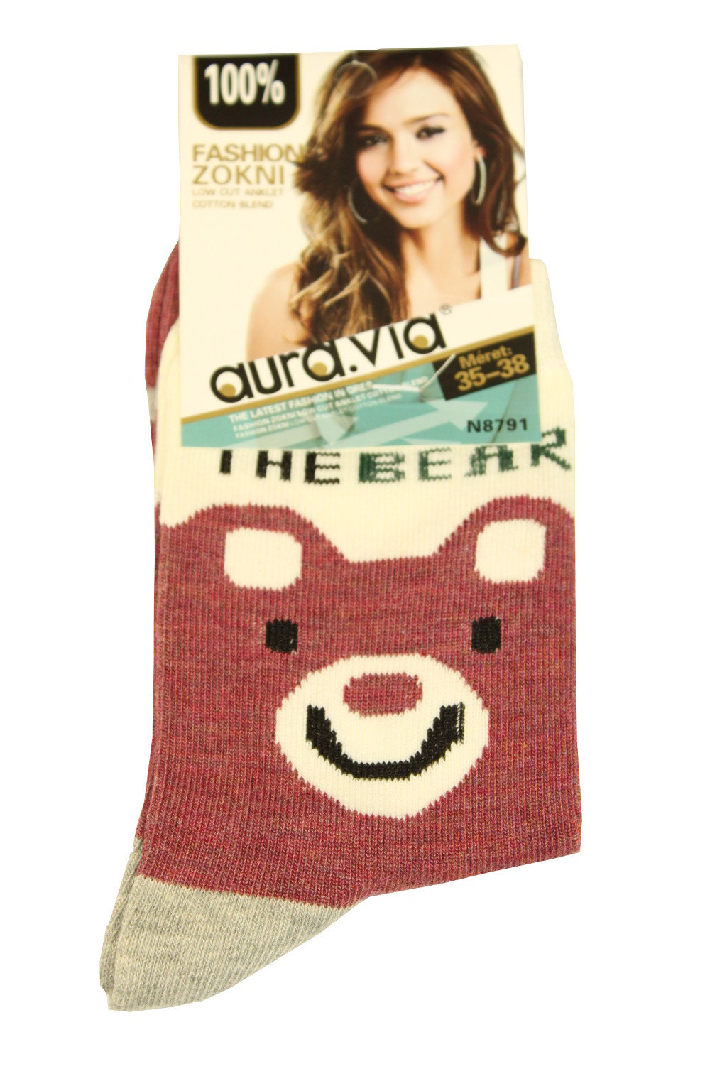 Dámské bavlněné ponožky 35-38 vínová