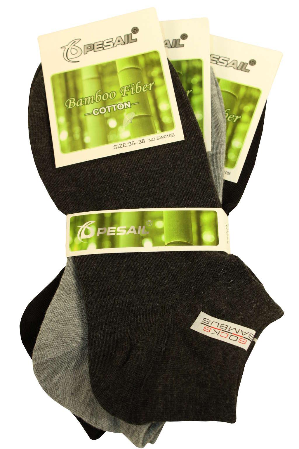 Dámské nízké ponožky z bambusu 3 páry 35-38 MIX