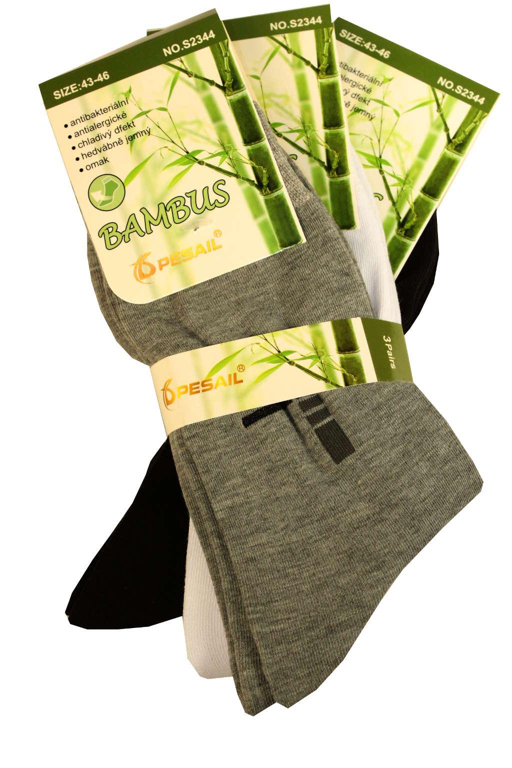 Pánské elegantní ponožky z bambusu 3 páry 43-46 MIX