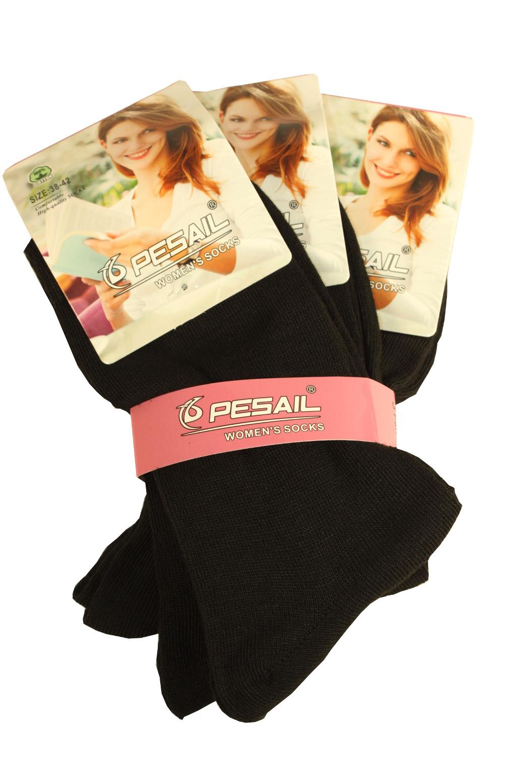 Dámské bavlněné ponožky - 3 páry 35-38 černá