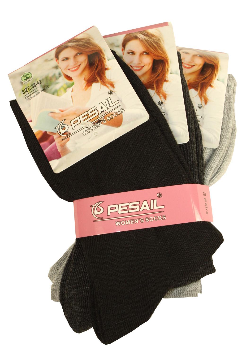 Dámské ponožky z bavlny 3 páry 35-38 MIX