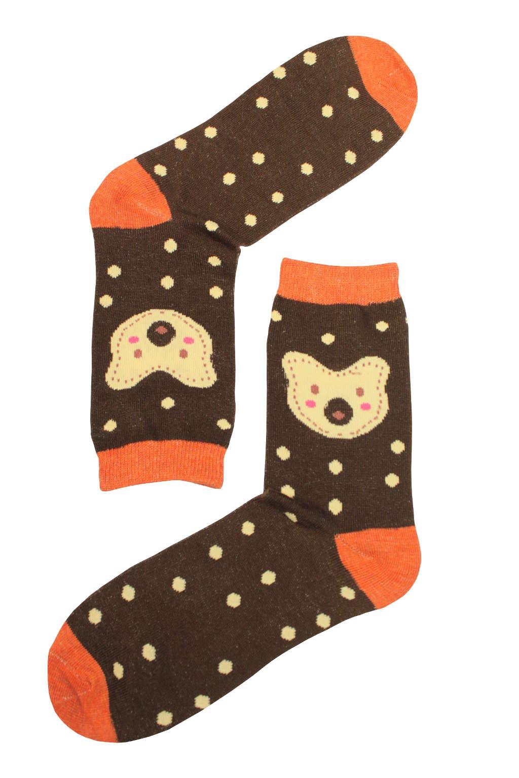 Dámské módní ponožky 35-38 tmavě hnědá