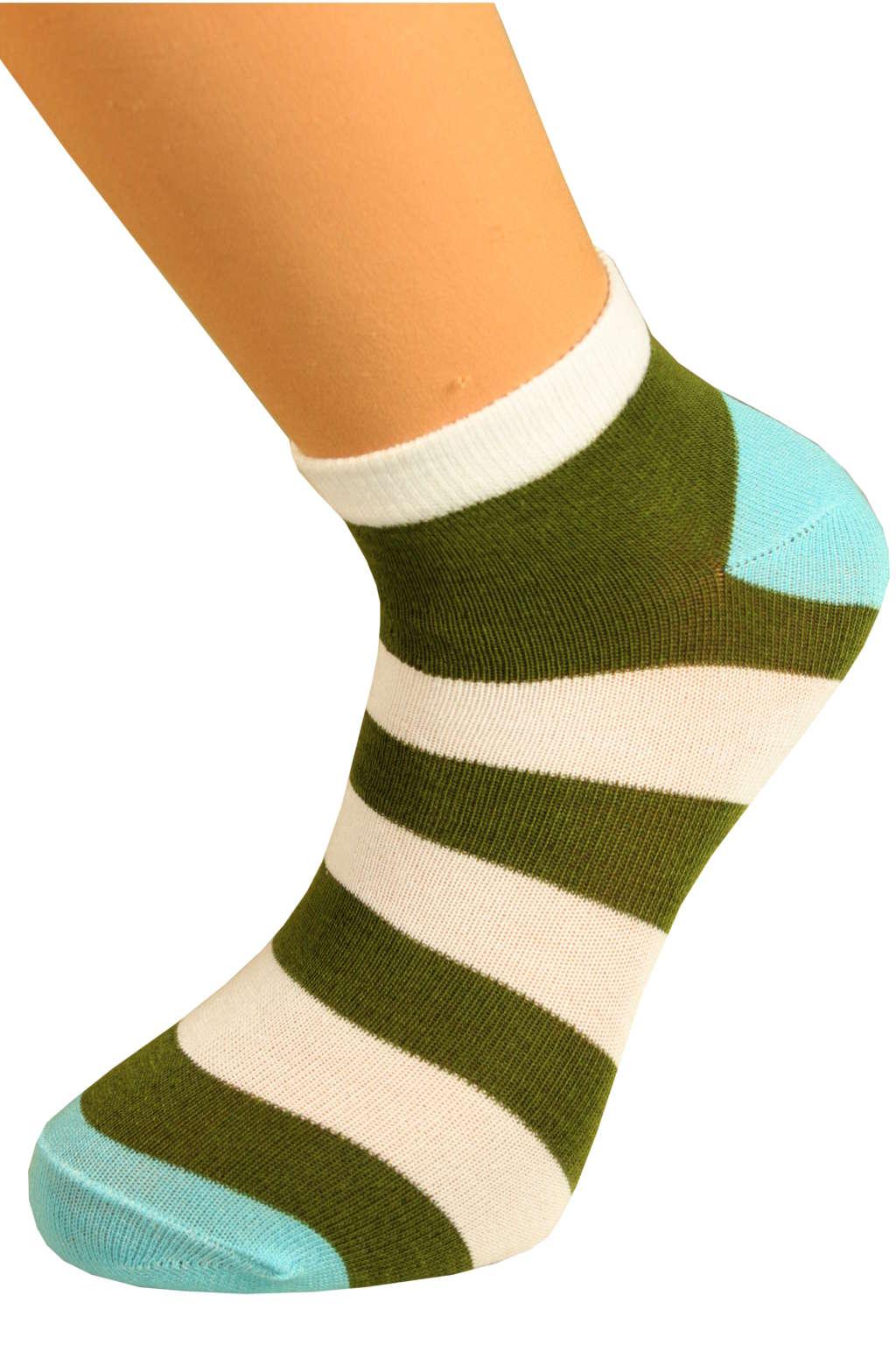 Ponožky pruhy 43-47 khaki
