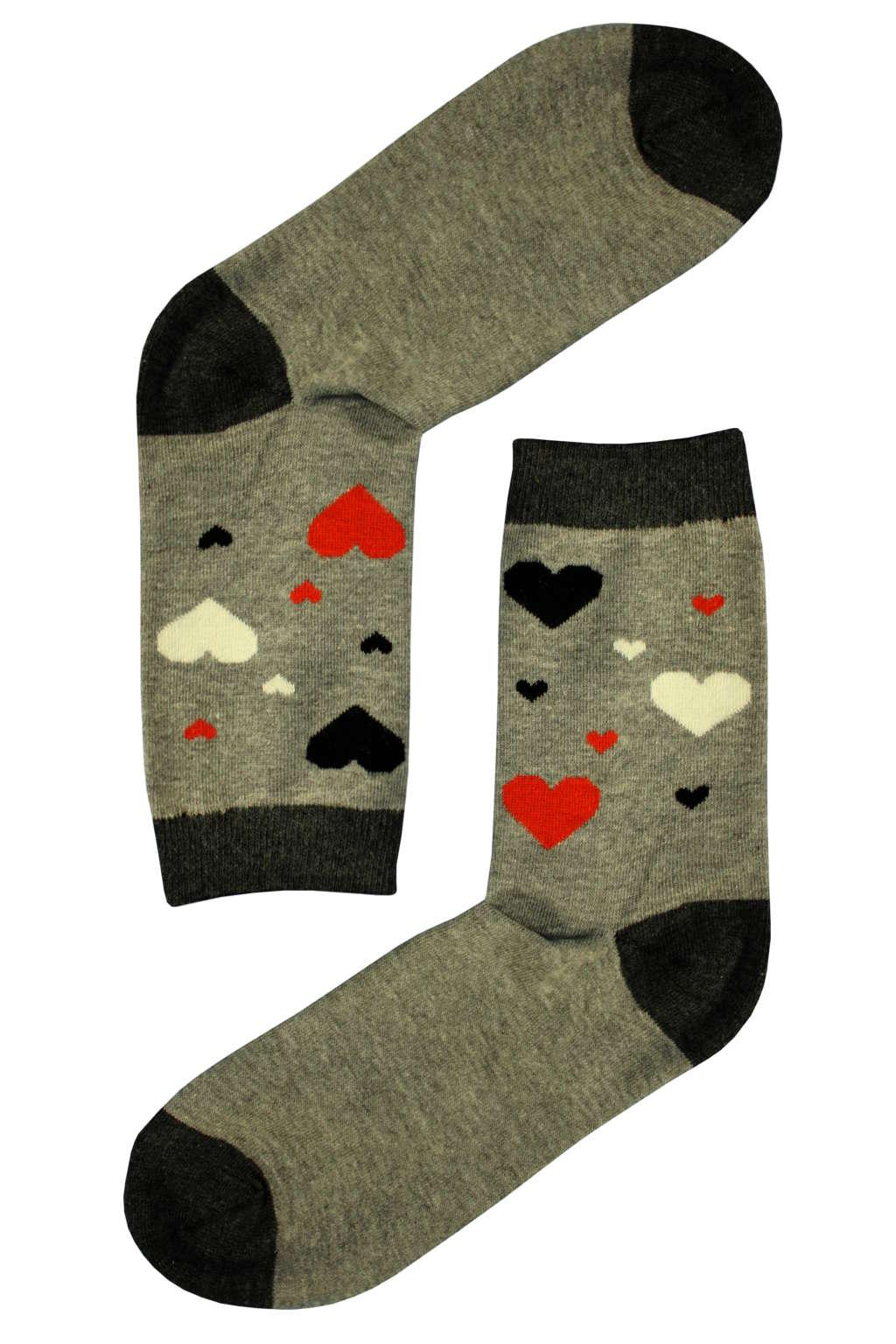 Veselé ponožky - barevná srdíčka 35-38 šedá 514a709458