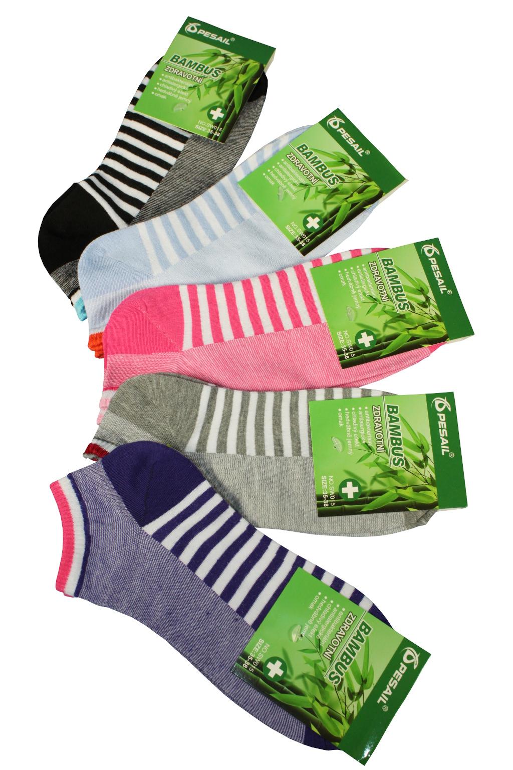 Nízké bambusové ponožky - 3páry 38-42 MIX