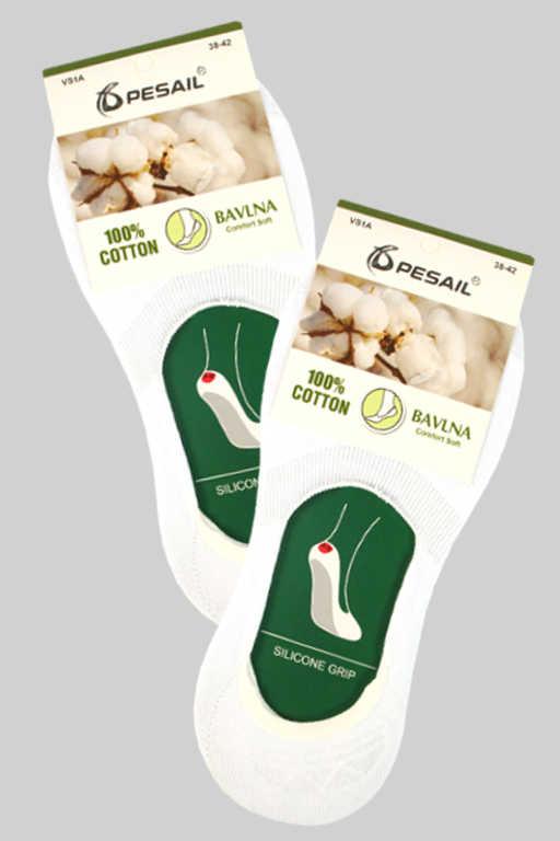 Skryté dámské ponožky 100 % bavlna 38-42 bílá