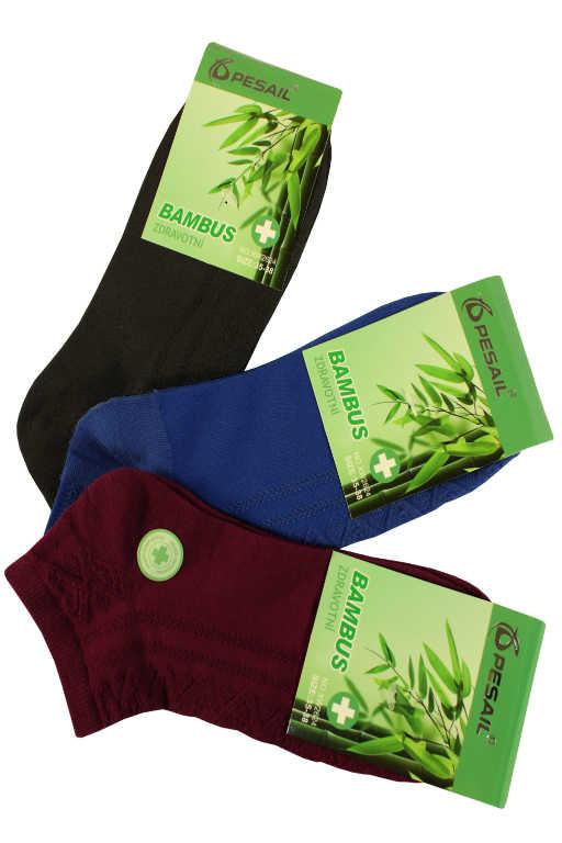 Trendy nízké dámské bambus ponožky - 3páry 35-38 MIX