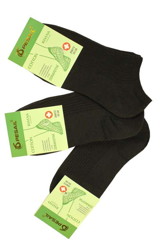 Zdravotní kotníčkové ponožky - 3 páry 35-38 černá