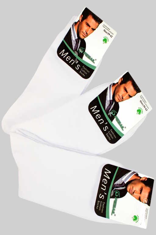 Klasické pánské vyšší ponožky - 3 páry 39-42 bílá