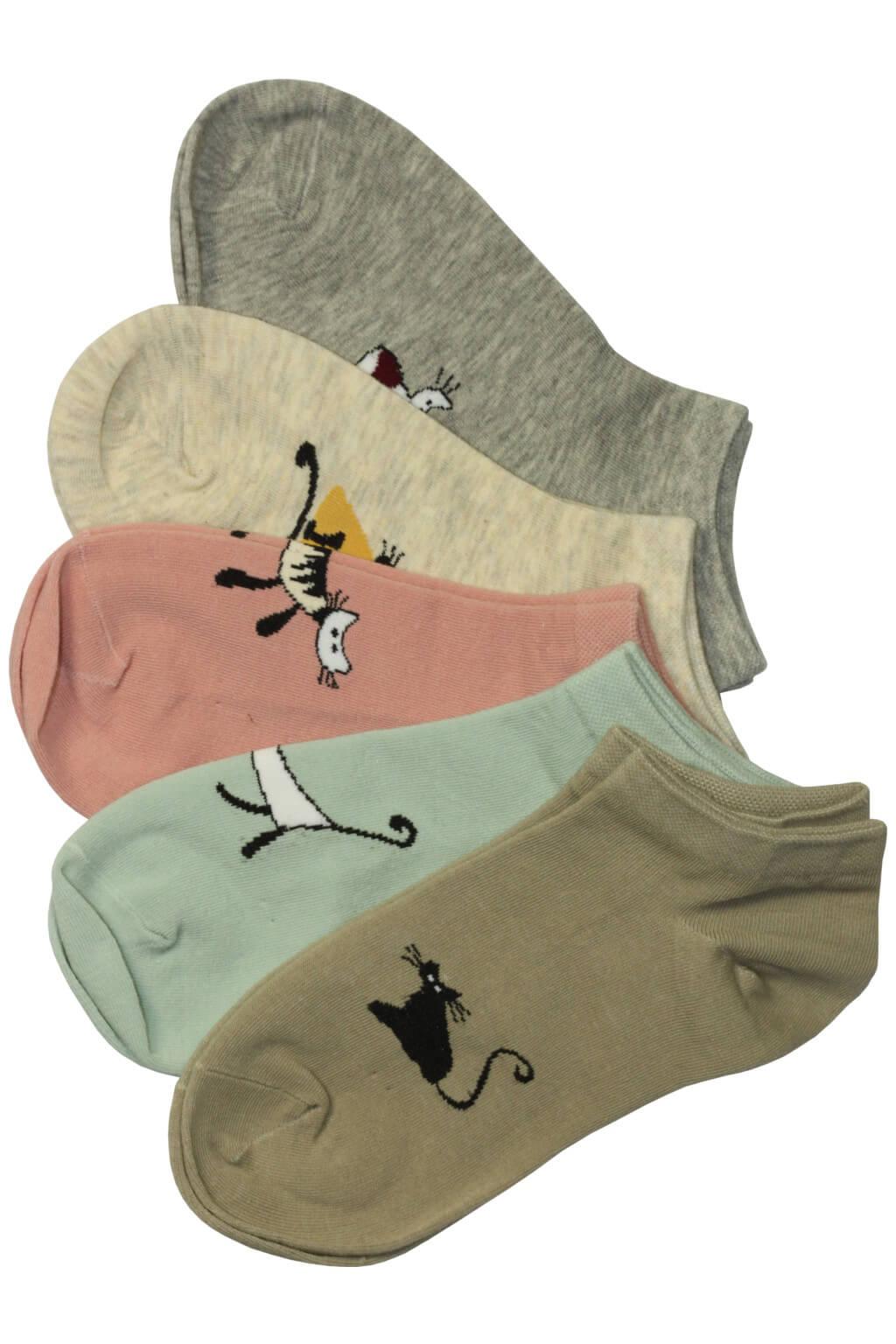 Veselé dámské ponožky bavlna Cat CW355 - 3 páry MIX 39-42