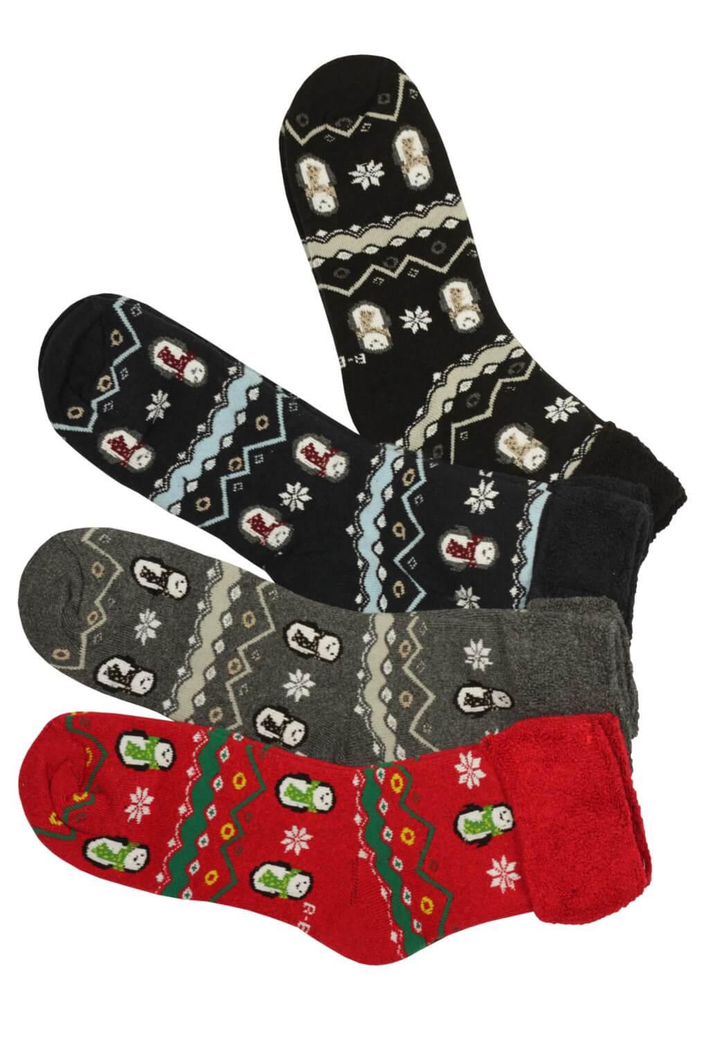 Dámské vánoční ponožky teplé - 3 bal 35-38 MIX