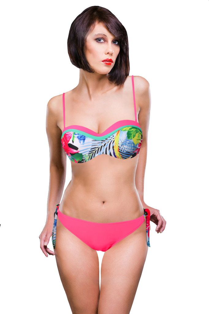 Tropica neonové plavky zářivě růžová XXL
