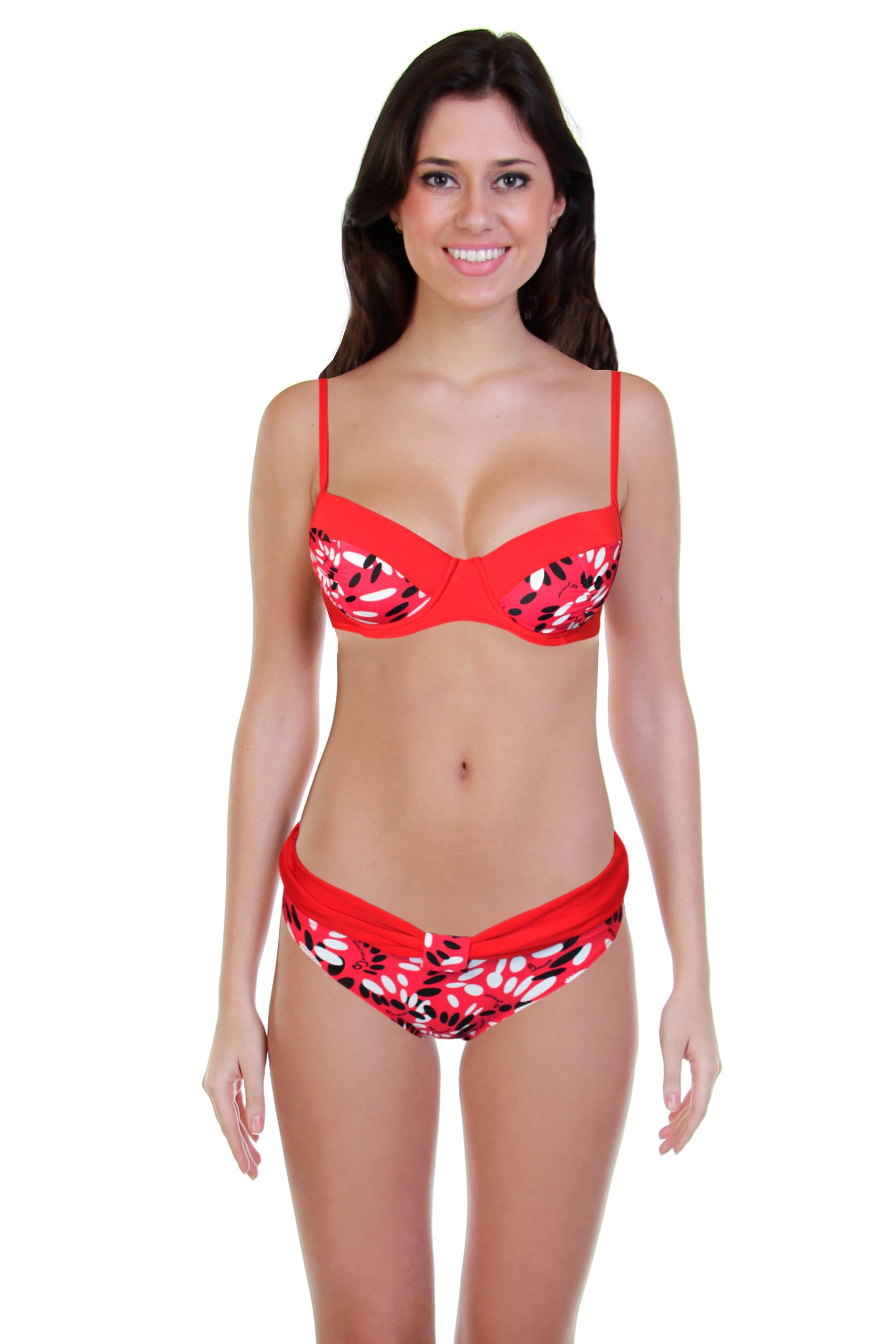 Pretty Sun plavky dvoudílné - výprodej M červená