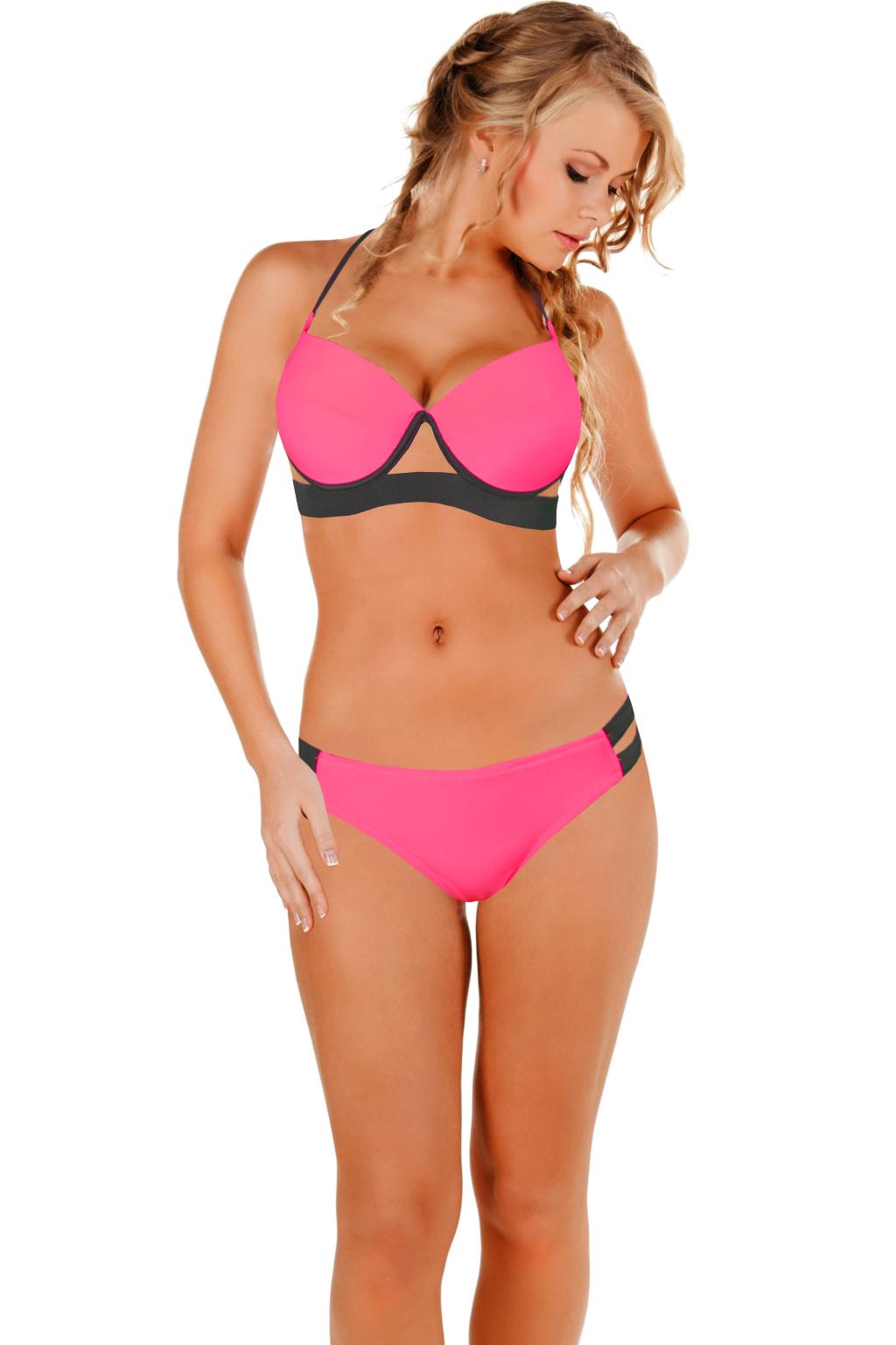 Viktoria dámské plavky 2016 L zářivě růžová