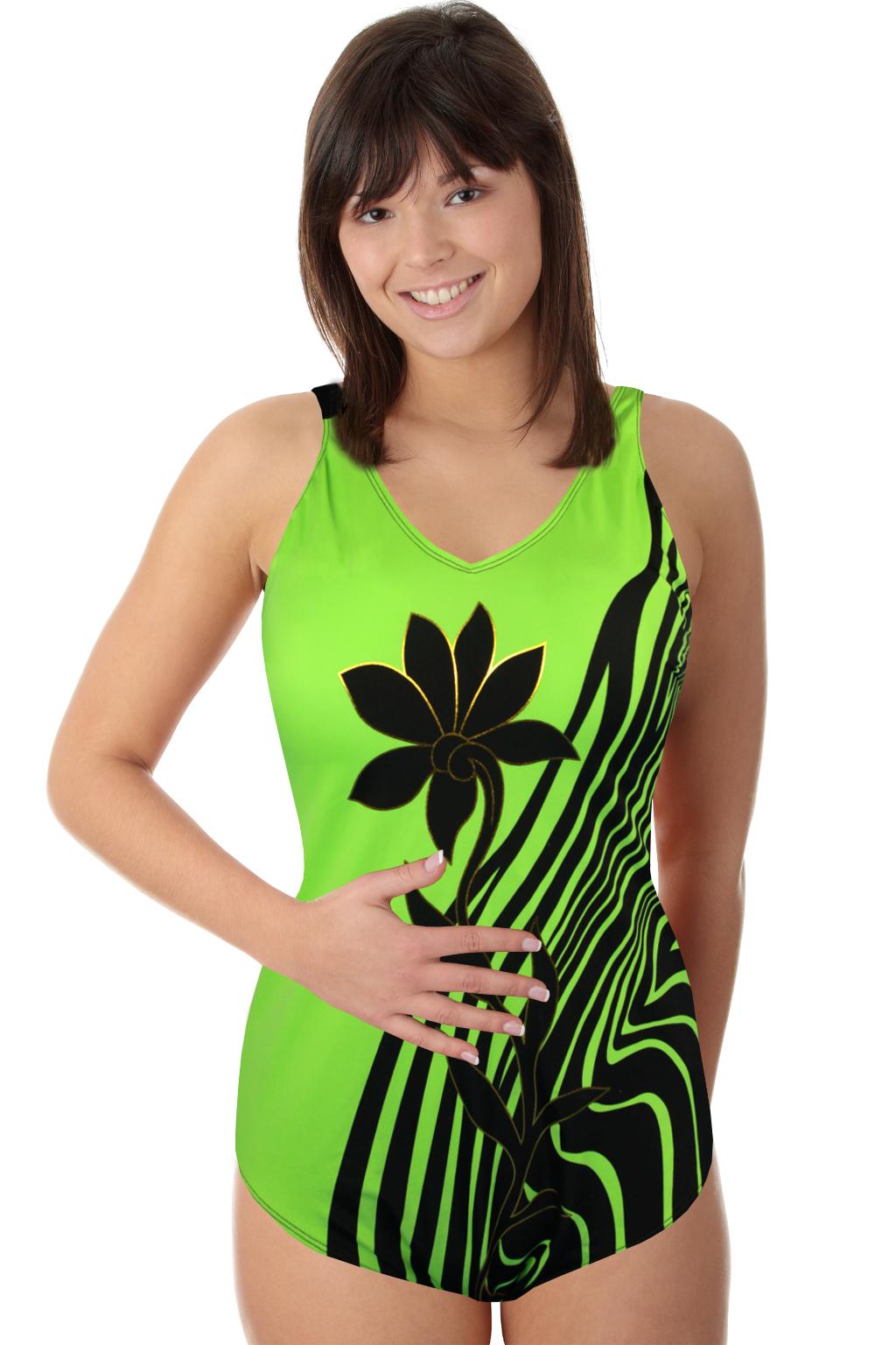 Danea vyztužené jednodílné plavky zářivě zelená XL