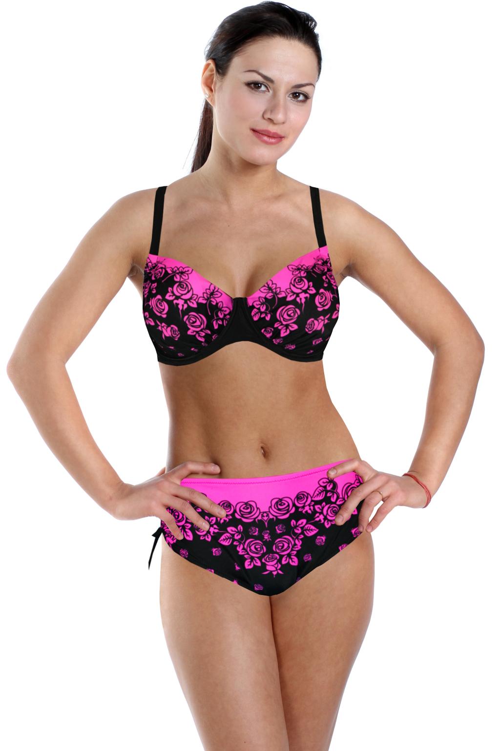 Pink Rose dvoudílné plavky pro plnoštíhlé 4XL černá
