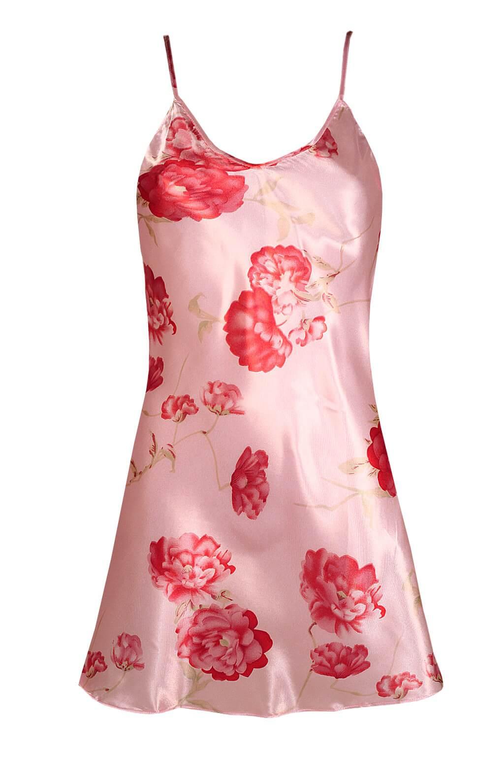 Helena noční saténová košilka XL růžová