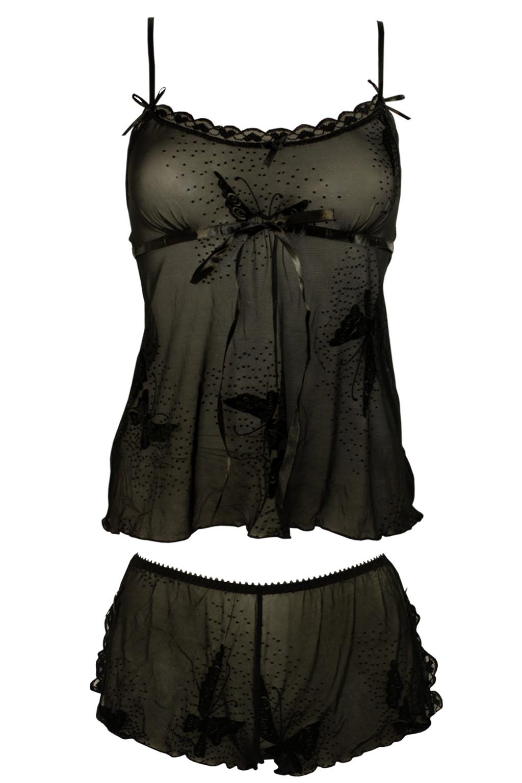 Sexy komplet Trina - košilka + kalhotky L černá