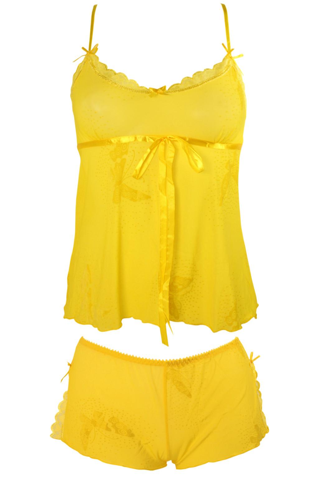 Trina Yellow sexy komplet - košilka + kalhotky L žlutá