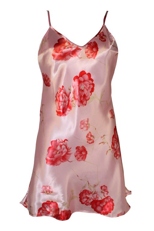 Roses saténová košilka XL růžová
